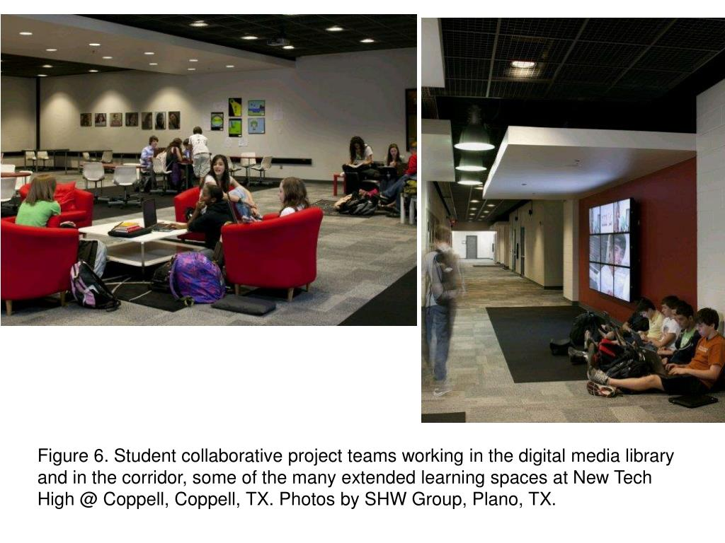Figure 6. Student collaborative project teams working in the digital media library and in the corridor, some of the many extended learning spaces at New Tech High @ Coppell, Coppell, TX. Photos by SHW Group, Plano, TX.