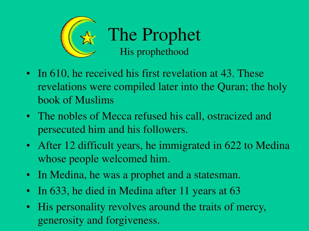 In 610, he received his first revelation at 43. These revelations were compiled later into the Quran; the holy book of Muslims