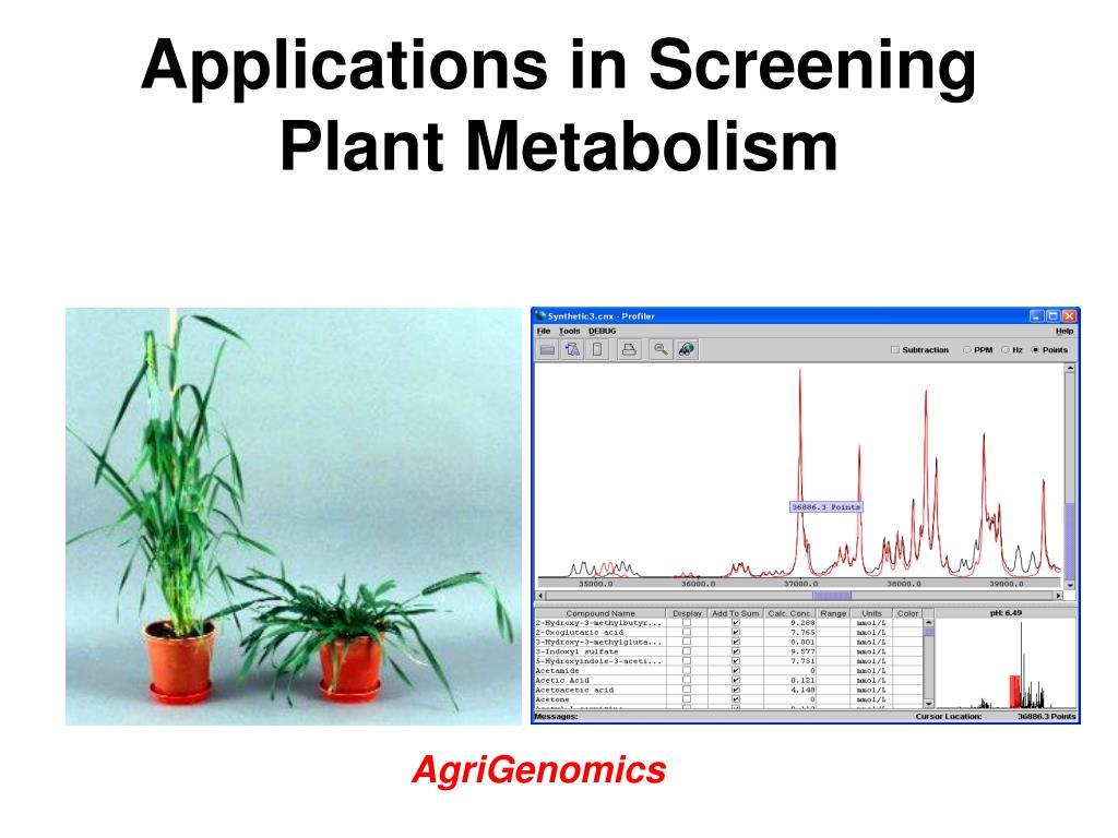 Applications in Screening Plant Metabolism