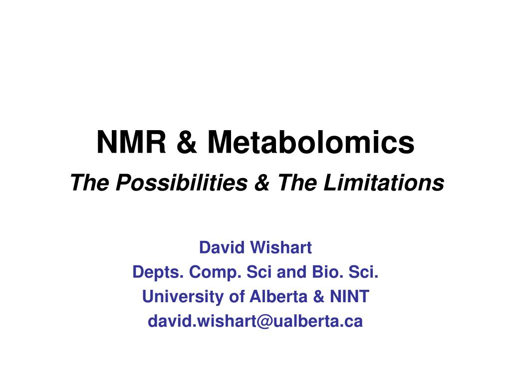 nmr metabolomics the possibilities the limitations