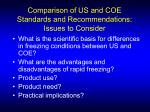 comparison of us and coe standards and recommendations issues to consider
