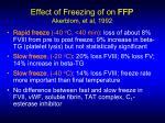 effect of freezing of on ffp akerblom et al 1992