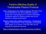 factors affecting quality of transfusable plasma products13