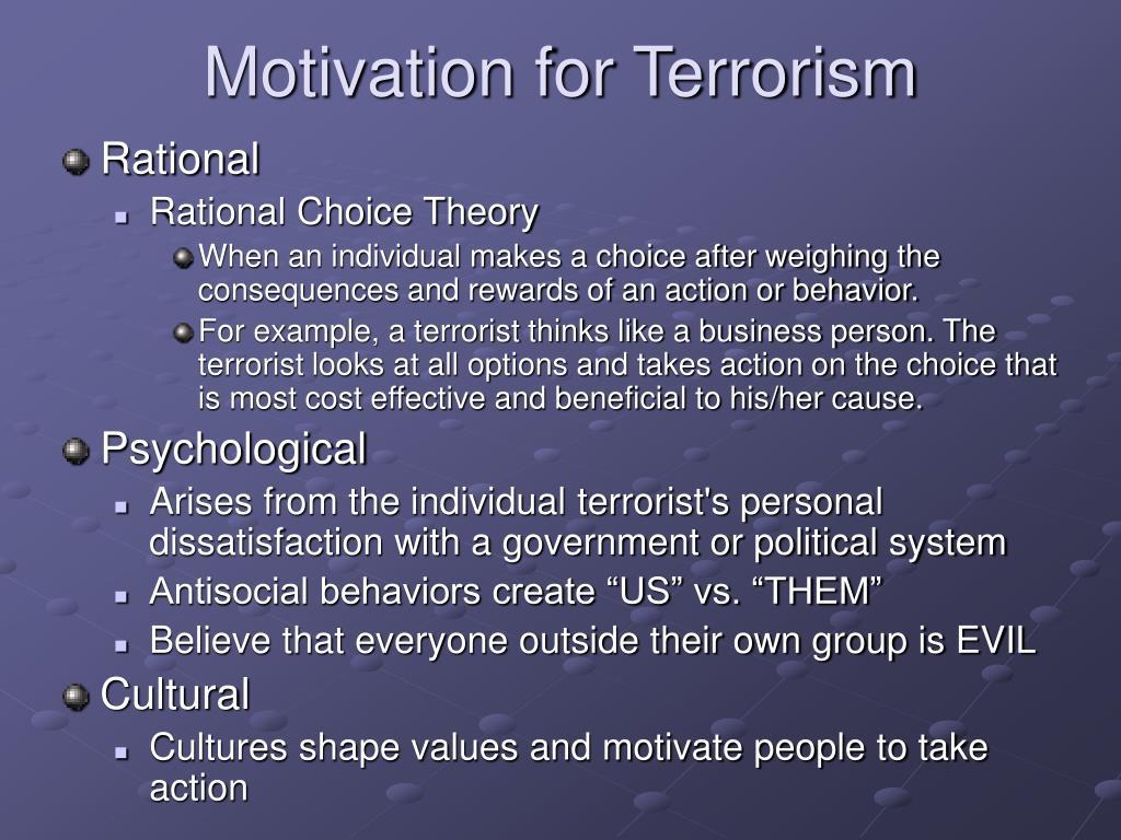 Motivation for Terrorism