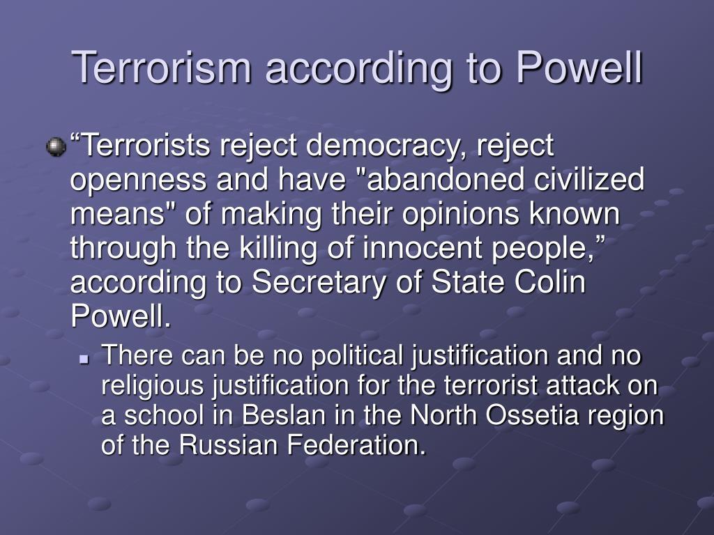 Terrorism according to Powell