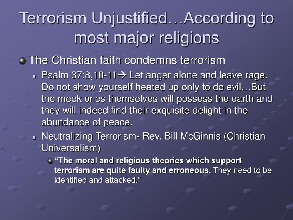 Terrorism Unjustified…According to most major religions