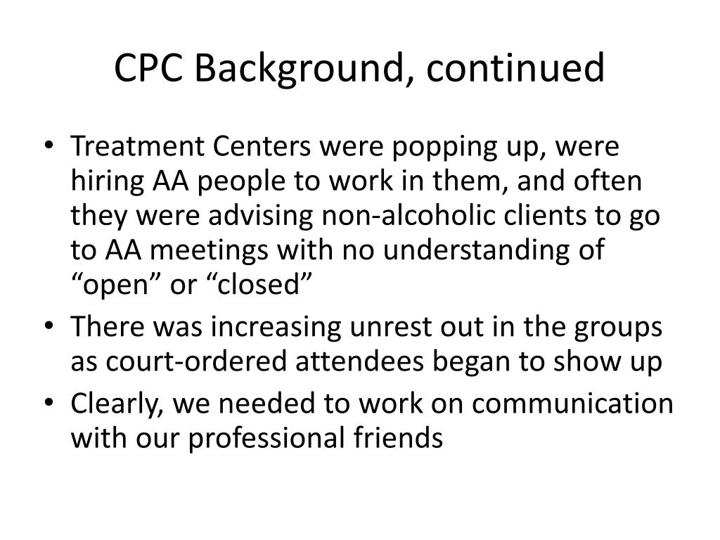 CPC Background, continued