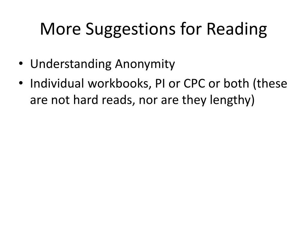 More Suggestions for Reading