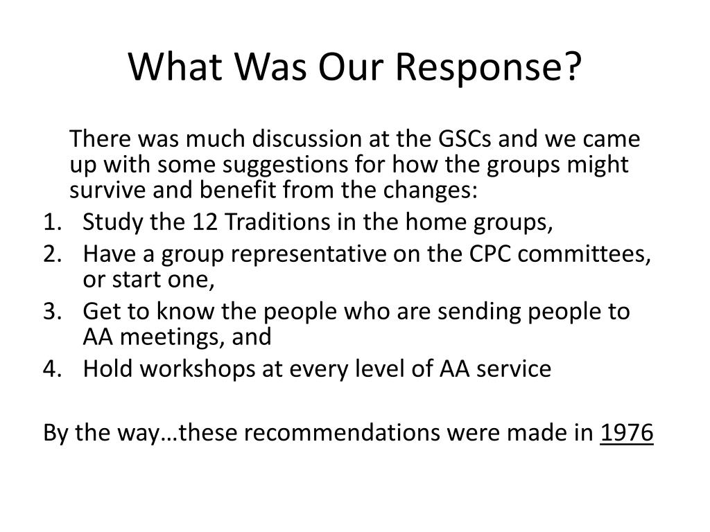 What Was Our Response?