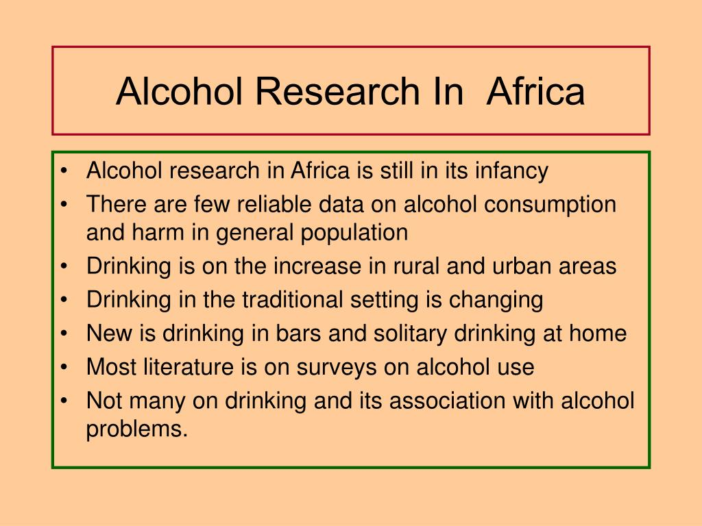Alcohol Research In  Africa