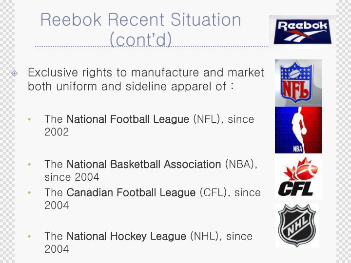Reebok recent situation cont d