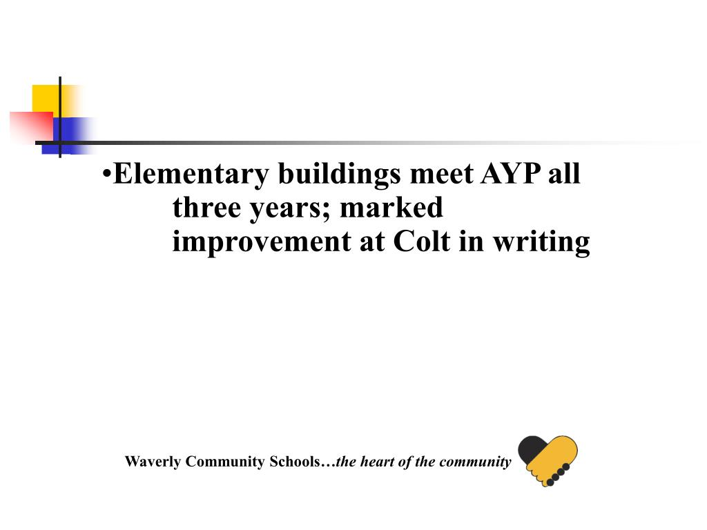 Elementary buildings meet AYP all three years; marked improvement at Colt in writing