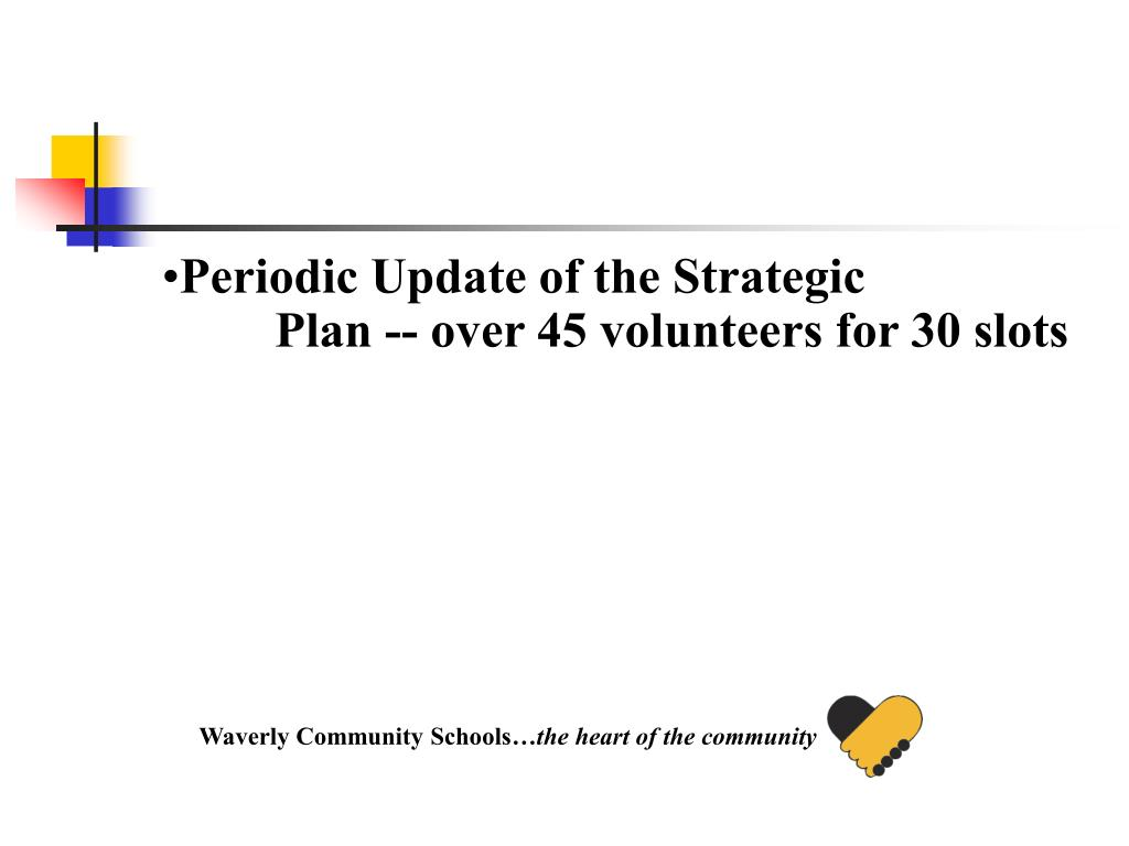 Periodic Update of the Strategic Plan -- over 45 volunteers for 30 slots