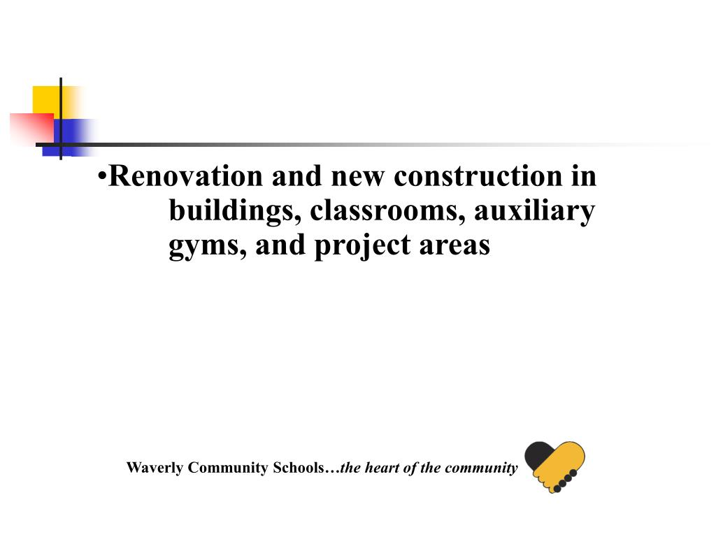 Renovation and new construction in buildings, classrooms, auxiliary gyms, and project areas
