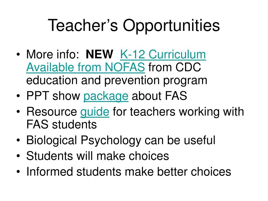 Teacher's Opportunities