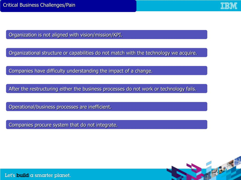 Critical Business Challenges/Pain