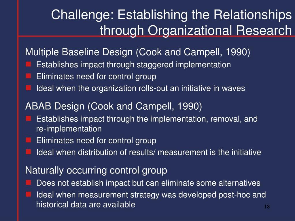 Challenge: Establishing the Relationships through Organizational Research