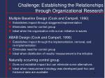 challenge establishing the relationships through organizational research