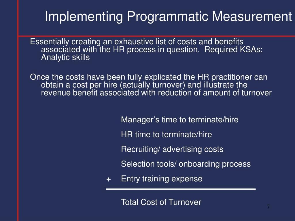 Implementing Programmatic Measurement