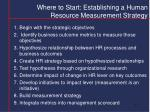 where to start establishing a human resource measurement strategy
