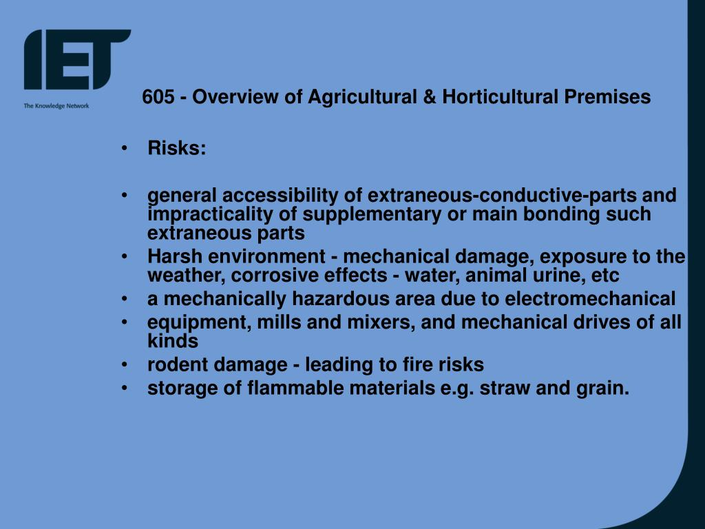 605 - Overview of Agricultural & Horticultural Premises