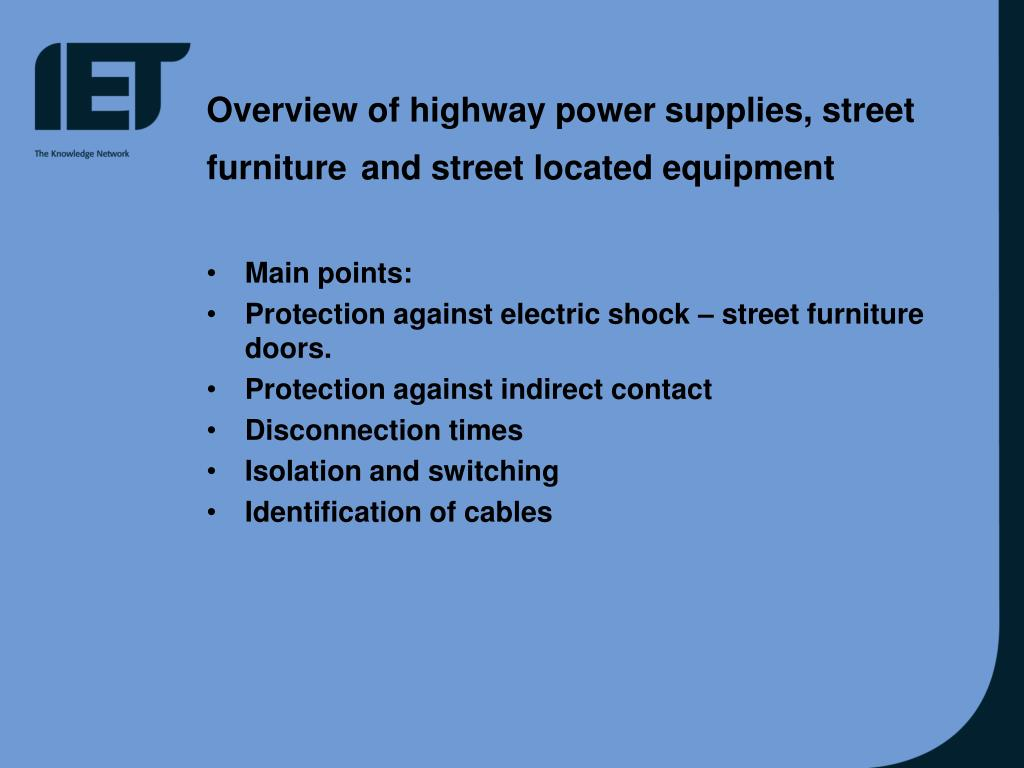 Overview of highway power supplies, street furniture