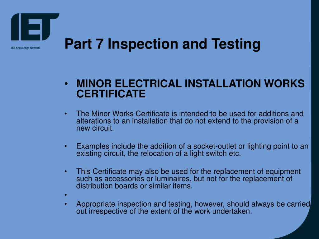 Part 7 Inspection and Testing