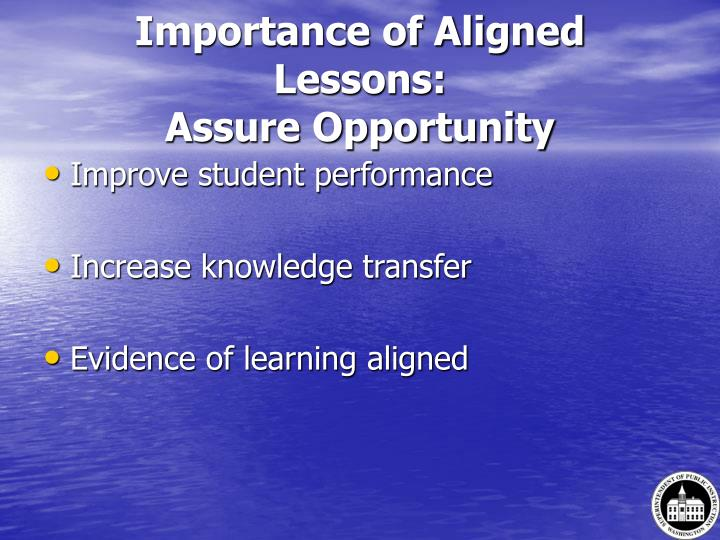 Importance of Aligned Lessons: