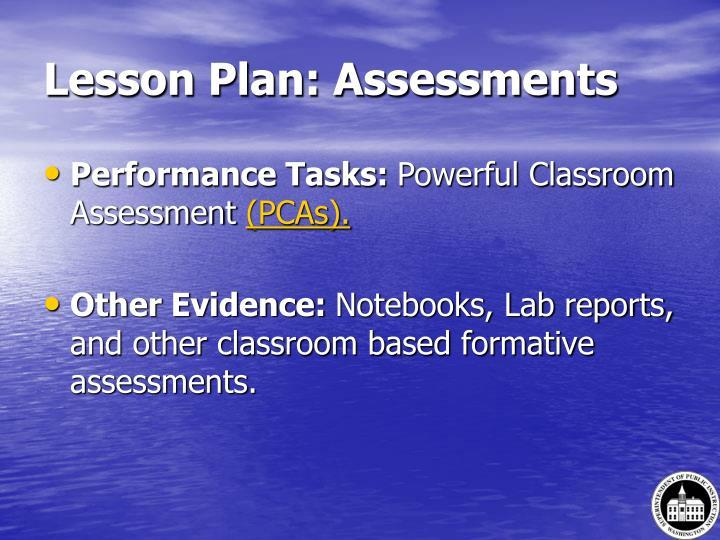 Lesson Plan: Assessments