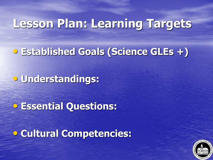 Lesson Plan: Learning Targets