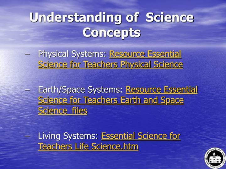 Understanding of  Science Concepts