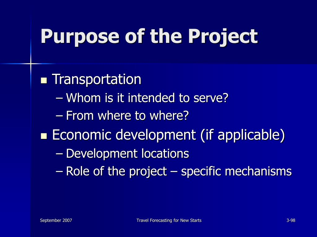 Purpose of the Project