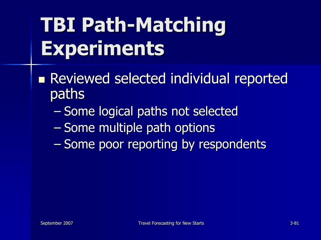 TBI Path-Matching Experiments
