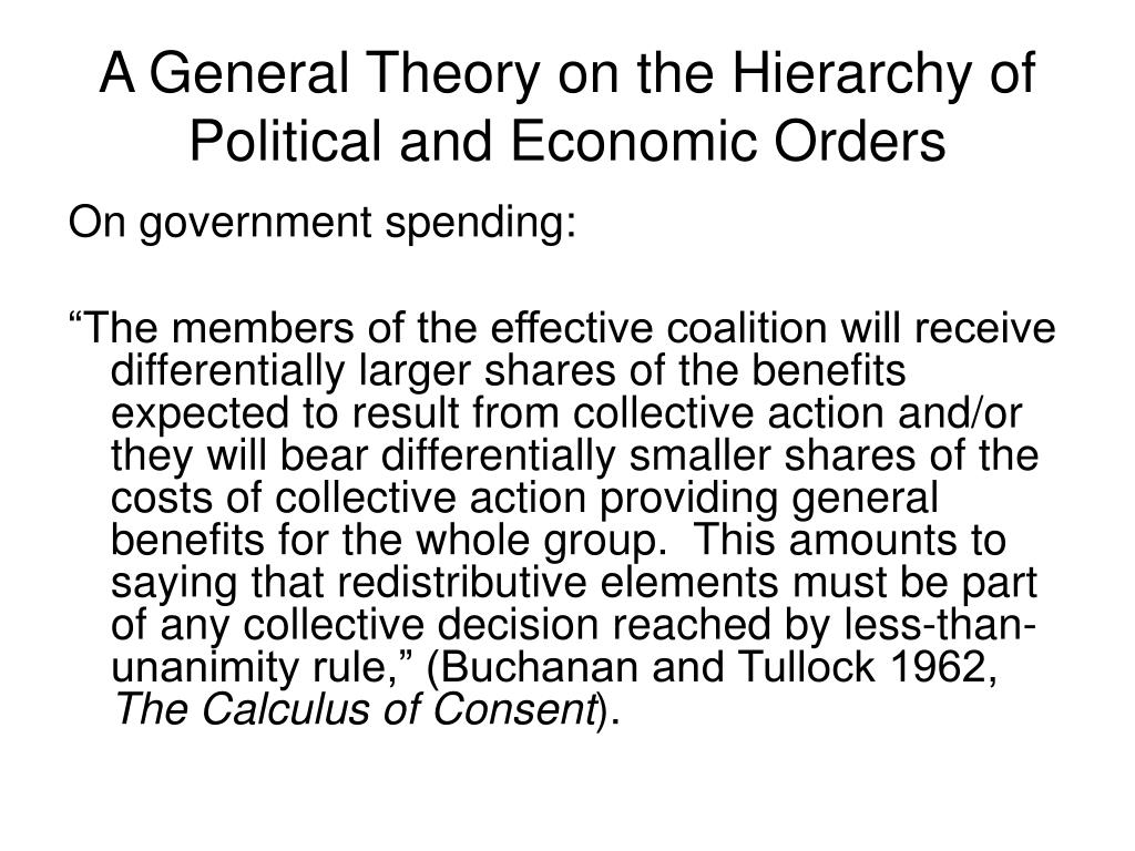 A General Theory on the Hierarchy of Political and Economic Orders