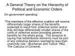 a general theory on the hierarchy of political and economic orders16