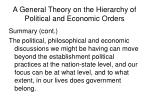 a general theory on the hierarchy of political and economic orders18