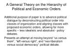 a general theory on the hierarchy of political and economic orders4