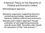 a general theory on the hierarchy of political and economic orders6