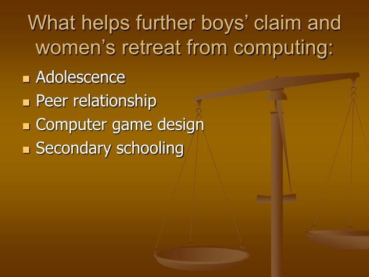 What helps further boys' claim and women's retreat from computing: