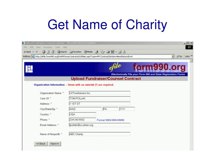 Get Name of Charity