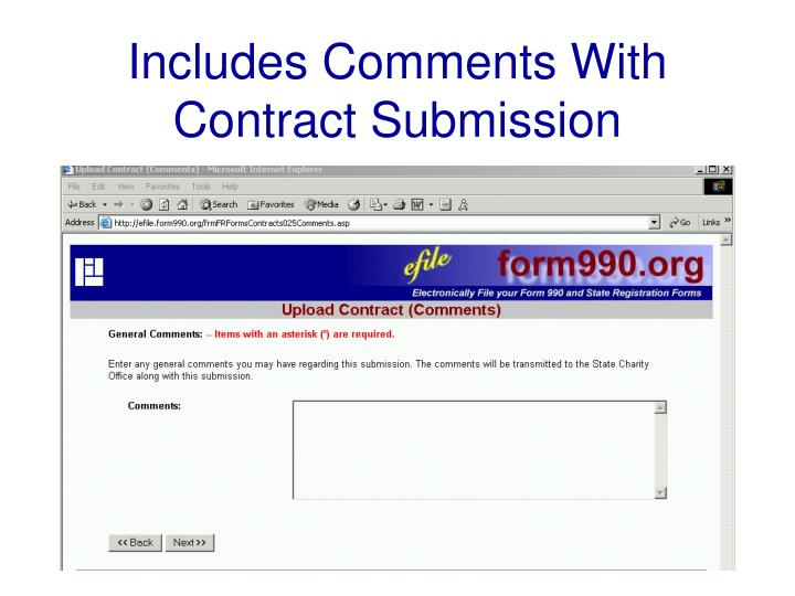 Includes Comments With Contract Submission