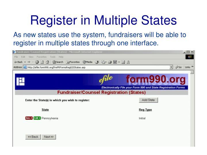 Register in Multiple States