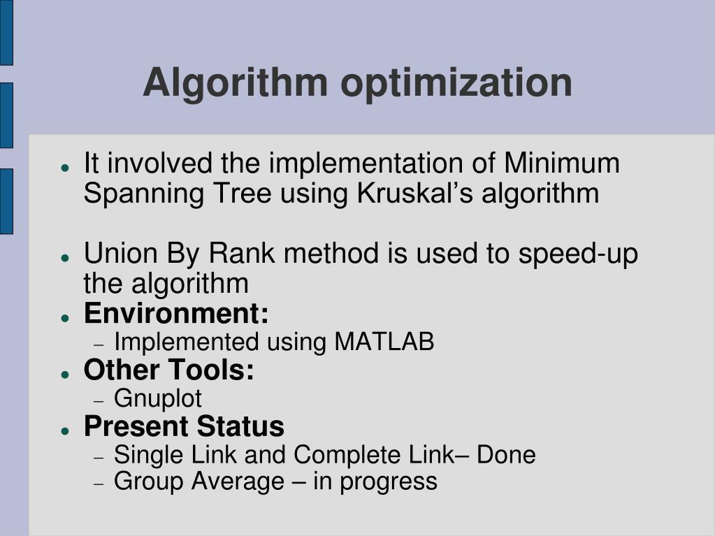 Algorithm optimization