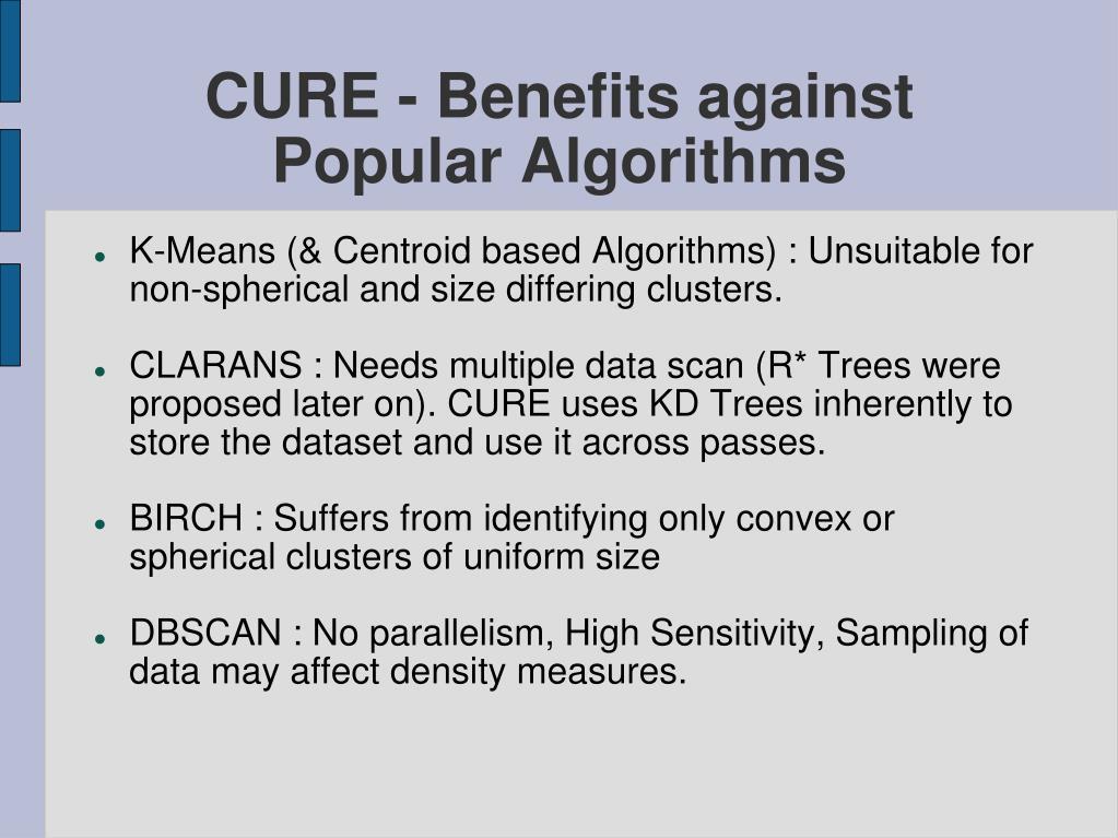 CURE - Benefits against Popular Algorithms