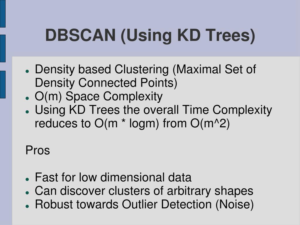 DBSCAN (Using KD Trees)
