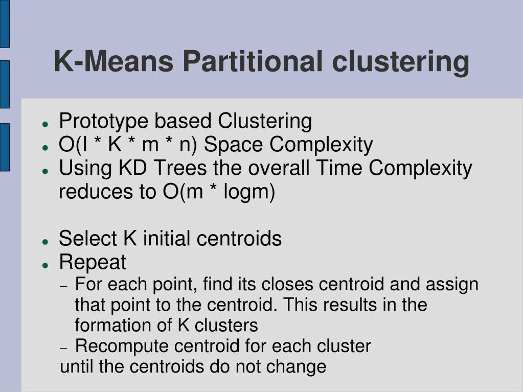 K-Means Partitional clustering