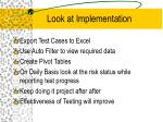 look at implementation