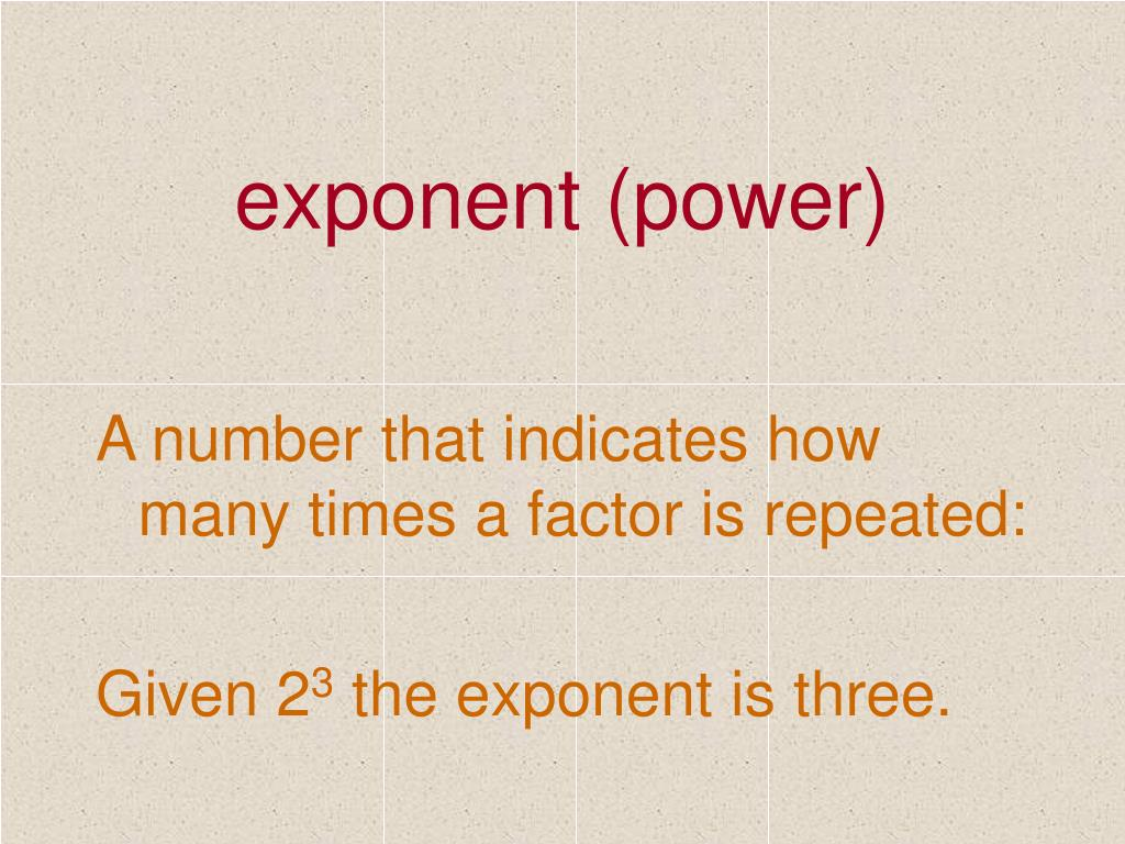 exponent (power)