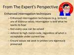 from the expert s perspective