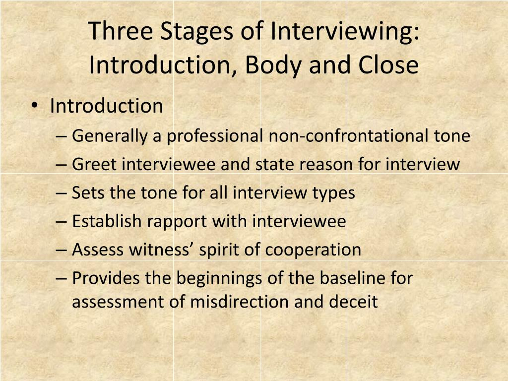 Three Stages of Interviewing: Introduction, Body and Close